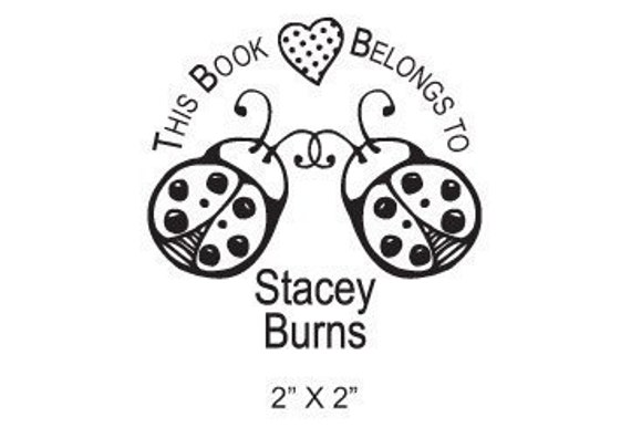 Personalized Ladybugs and Heart Ex Libris Bookplate Rubber Stamp B26