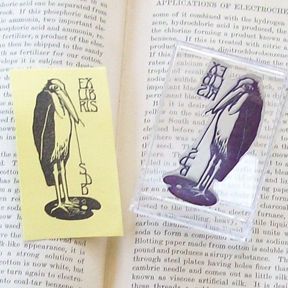 Personalized Monogram Heron Bird Ex Libris Book Plate Rubber Stamp A29