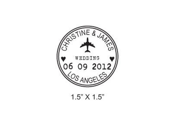 Custom Airplane Wedding Passport Save the Date Rubber Stamp AD173