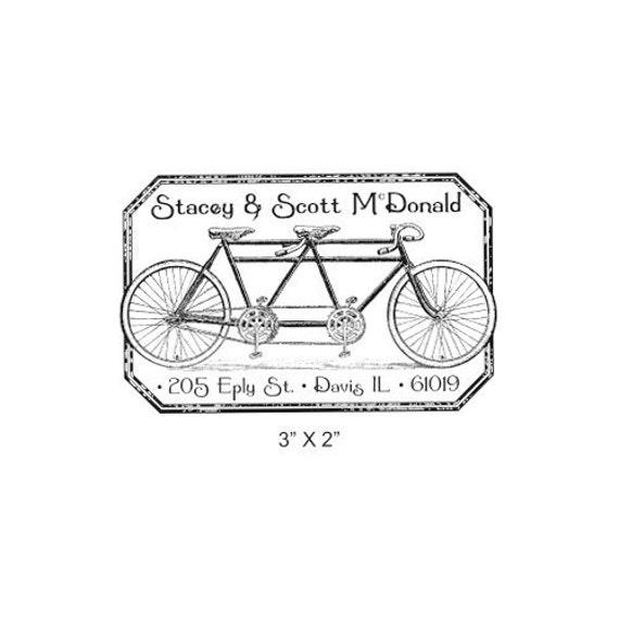 Tandem Bicycle Distressed Antique Frame Custom Return Address Rubber Stamp AD221