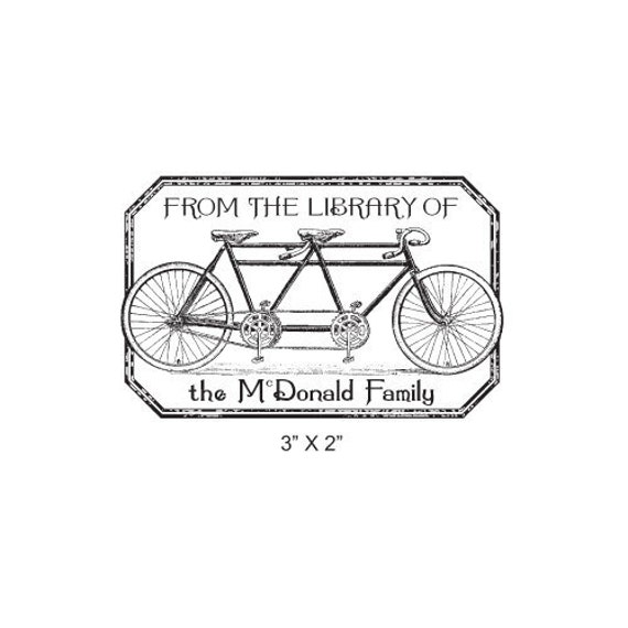 Tandem Bicycle Distressed Antique Frame Personalized Ex Libris Bookplate Rubber Stamp K15