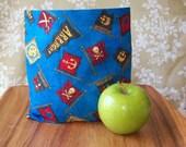Reusable Snack Bag - Reusable Sandwich Bag - Pirates - Small Size - Eco and Kid Friendly