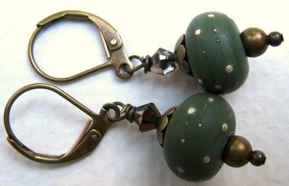 Military Flair Bronzed Lampwork Glass Dangle Earrings - Louisiana - EANGTEAM