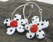 White Polka Dot Handmade Flower Glass Earrings, Red handmade Lampwork earrings,Silver Hoop Earrings