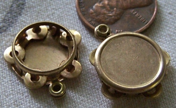 Vintage Moveable Brass Charms Tambourine Musical 17mm x2
