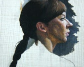 Portrait of Sara Jane - Oil Painting Fragment - 4x4 inches