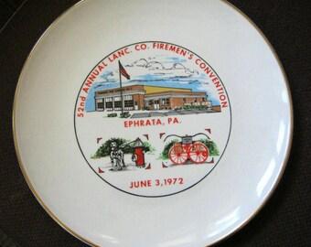 Vintage Souvenir Plate  Firemen's Convention Ephrata, PA 1972