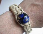 Natural Hemp Bracelet Medium Thickness with Large Glass Blue Bead
