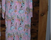 Sale Pink robe or silky pajama cover with ballerina print Vintage by keyser