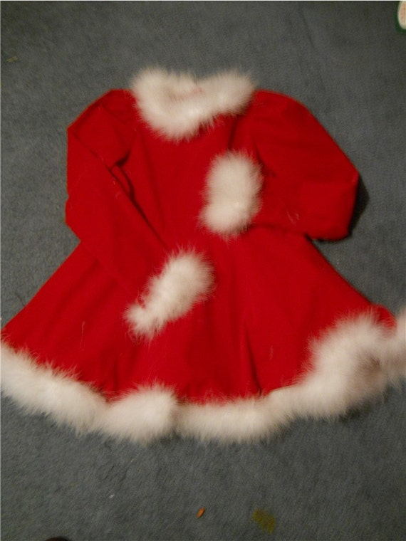 SALE Red Velveteen Christmas Dress with white boa feather trim