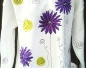 Sm to 5X Purple Zinnia with Retro Dots Sweat Shirt