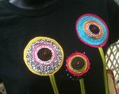 Sm to 3X Bohemian Poppies on Ladies Black Tee