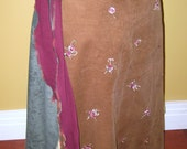 Upcycled Panel Wrap Skirt - Brown, Green, Maroon