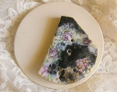 Ceramic Black Button with Tiny Pink Roses, Handmade Button in Vintage Style, OOAK