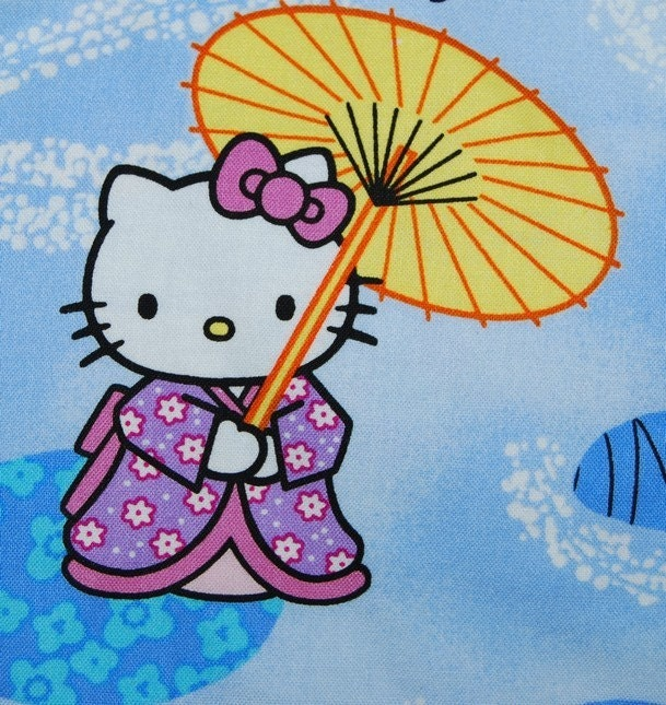 Japanese Hello Kitty In Kimono Misc Fabric For Quilting