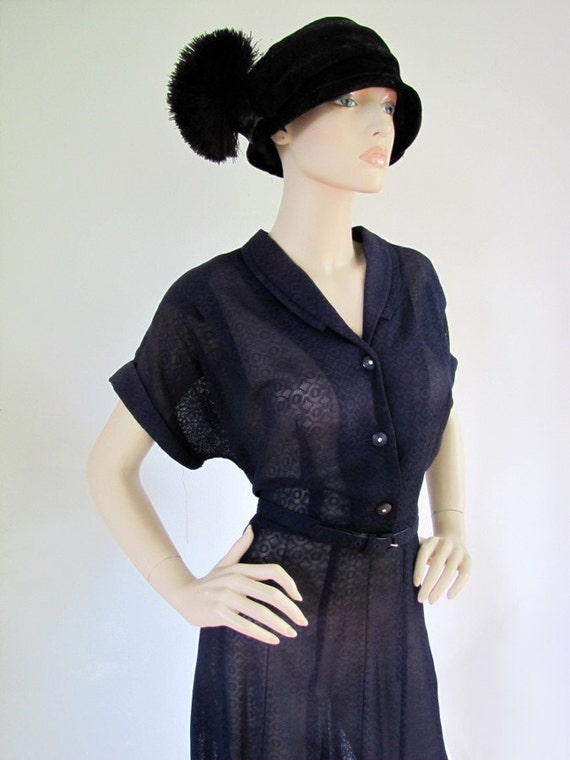 Spring Breeze - Vintage 1950s Sheer Lace Day Dress XL XXL