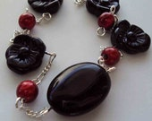 Vintage Black Flowers with Red Orbs Necklace