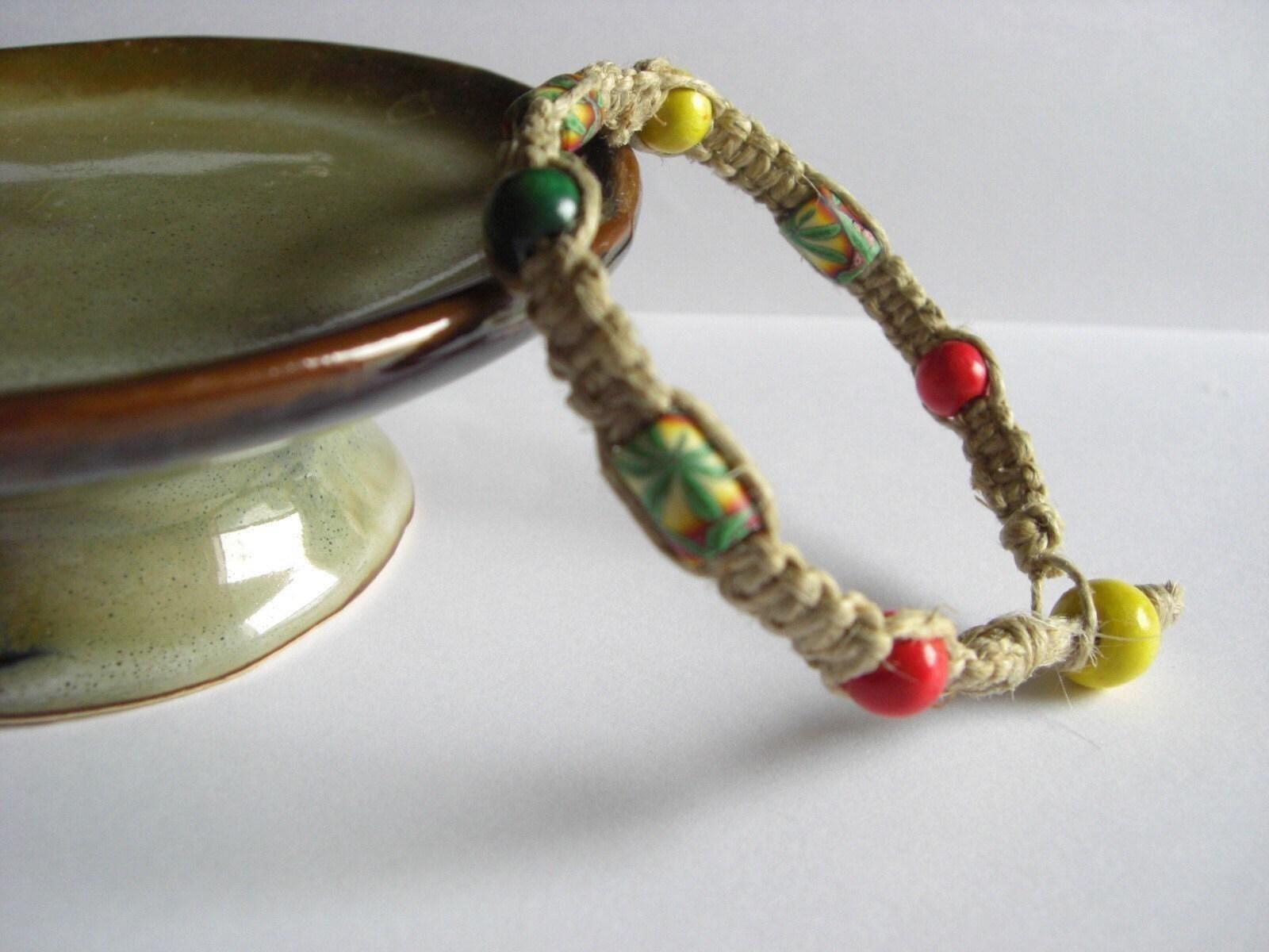 high times rasta hemp bracelet