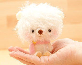 Amigurumi bear in pink plush toy - made to order - Happy Pinu -