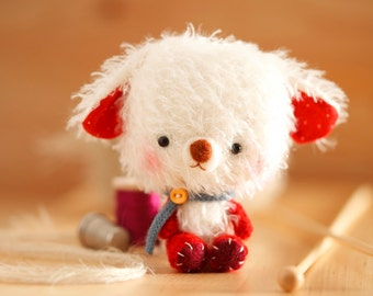Teddy bear softie toy in red - made to order - Rupert -