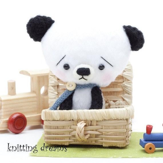 Panda  -miniature amigurumi teddy bear toy- make to order-