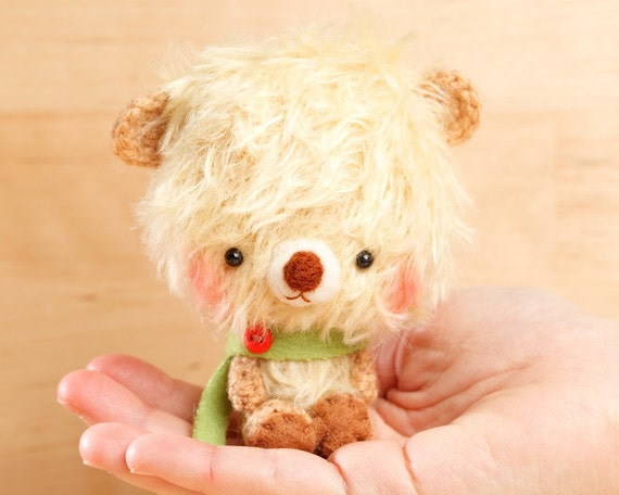 Teddy bear plush doll in yellow  - made to order - ilu