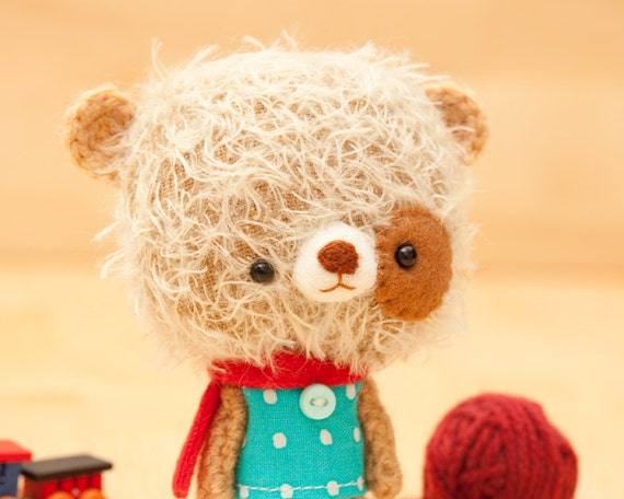 Stuffed animal bear, miniare softie, blythe pet - made to order - Mei -
