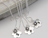 Flower Girl Personalized Silver Bridesmaid Necklace