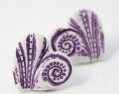 Aubergine Purple Swirly Resin Heart Stud Earrings