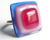 Blue and pink squares fused glass ring
