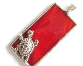 Red turtle stained glass pendant RESERVED for ESZTER