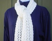 Gorgeous Hand Knit Soft White Scarf