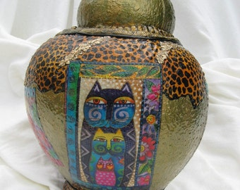 Fanciful Felines on a Golden  Pot