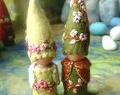 Reserved for Michele Blossom Gnomes Wedding Cake Topper Faerie Elf Natural