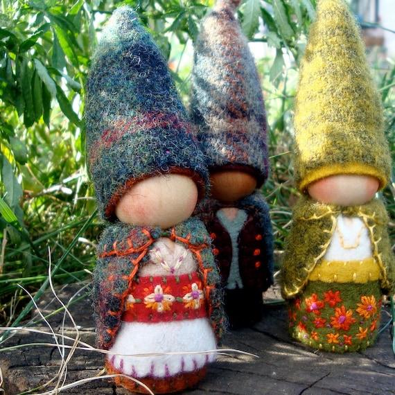 Autumnal Marigold Mountain Mama Gnome Waldorf inspired Storytelling natural Dollhouse Play