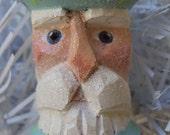 Hand Carved Sparkly Aqua Spool Santa