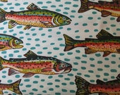On The Rio Grande - Trout - By Terrie Mangat - 1 Yard - Ivory - 7.75 a yard