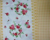 Flower Sugar Fabric Vintage Border Stripe  -Yellow Gingham and Floral - 1 Yard - 9.75 Dollars