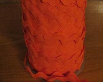 Vintage Polyester Blend Ric Rac - Bright Orange - 5 yards - 6 Dollars