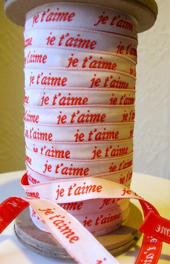 French General je'taime (I love you) ribbon by Moda - 2.00 per yard