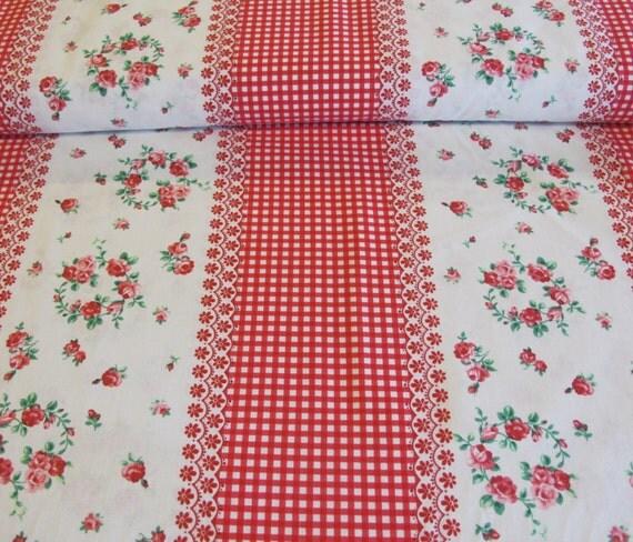 Flower Sugar Fabric Vintage Border Stripe - Red Gingham and Floral - 9.75 yard