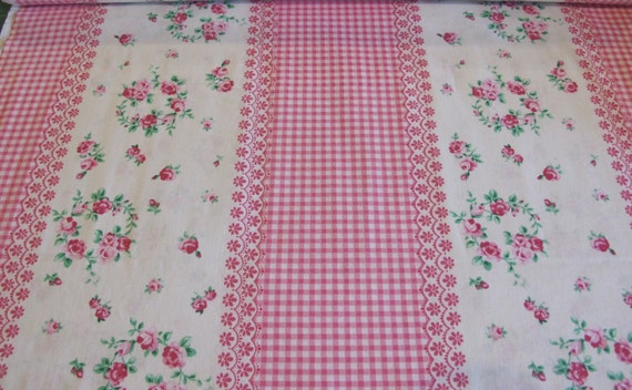 Reserved for katy - 11 yards assorted - 102.00 - Flower Sugar Fabric Vintage Border Stripe -Pink Gingham and Floral - 9.75 yard