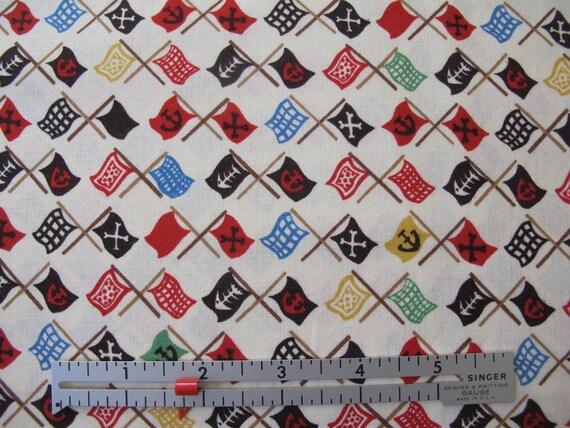Monkey Bizness - Pirate Flags - Fabric by Alexander Henry - 9.00 a Yard