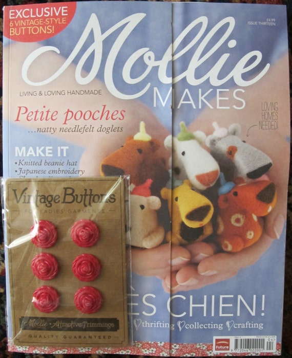 Mollie Makes Magazine - Issue 13 - With Red Vintage Buttons - 11.00 Dollars
