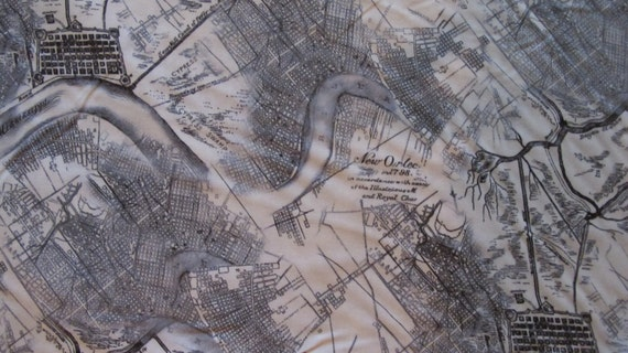 Reserved for eklelty1 - 3 1/3 yards - 25.75 - Map of New Orleans - Circa 1798 - By Timeless Treasures - 1 Yard - 7.75