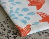 Folk Birds Fabric - Orange and Blue - Half Yard