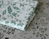 Forest Story - Damask Fabric - Small Piece - Sage Green on White