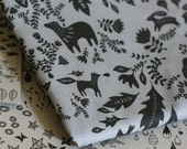 Forest Story - Damask Fabric - Half Yard - Black on Grey