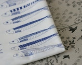 Hello Sardines Fabric - Blue on White - Small Piece