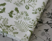 Snowy River Damask Fabric - Olive on White - Small Piece